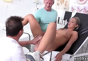 Doc assists with hymen checkup and defloration of virgin kitten