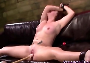 Bdsm tied slave toyed