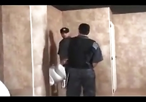 Two latino security guards fuck a shoplifter