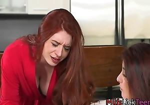 Awesome Lesbian Step-Mom With Young Friend