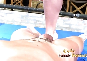 Ballbusting session on guest with bar girl