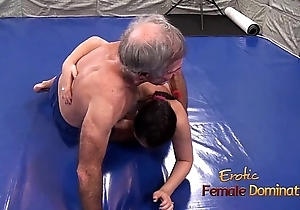 Lana Wrestles In Bikini With Elderly Man