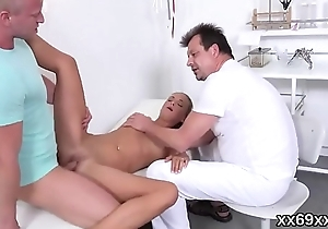 Medic assists with hymen physical and defloration of virgin kitten